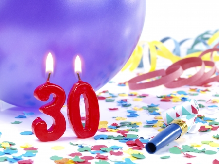 the 30: Birthday candles showing Nr  30