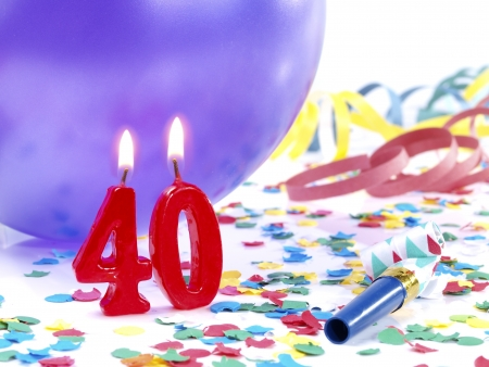 geburtstagskerzen: Geburtstagskerzen zeigt Nr 40 Lizenzfreie Bilder
