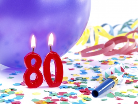 80: Birthday candles showing Nr  80 Stock Photo