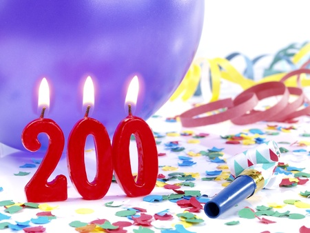 Birthday candles showing Nr  200 photo