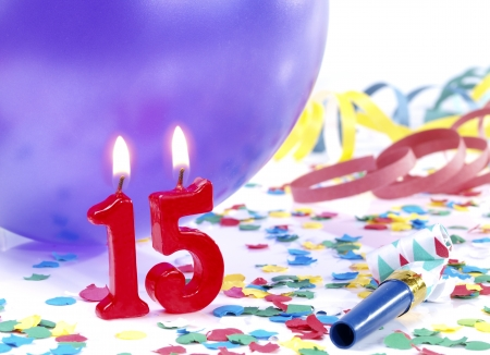 15: Birthday candles showing Nr. 15