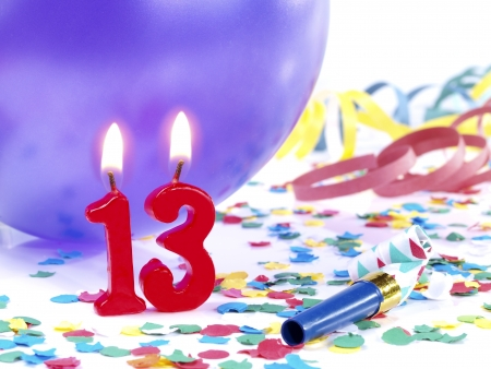 13: Birthday candles showing Nr. 13