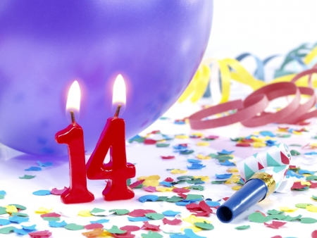 fourteen: Birthday candles showing Nr. 14