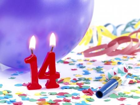 geburtstagskerzen: Geburtstagskerzen zeigt Nr. 14 Lizenzfreie Bilder