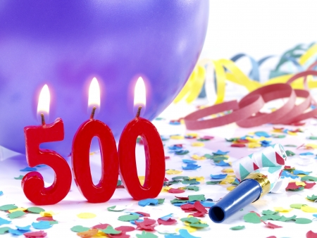 Birthday candles showing Nr. 500 photo