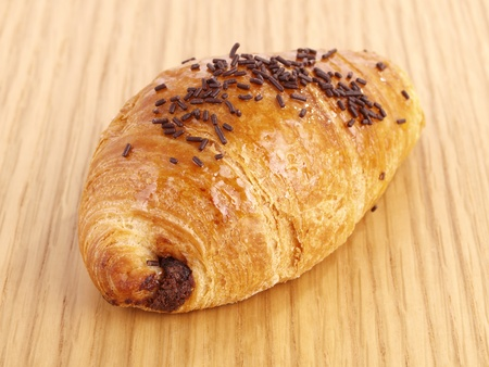 french culture: Chocolate Croissant. Tasty  delicious croissant filled with chocolate.
