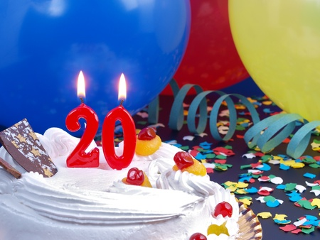 Birthday cake with red candles showing Nr  20 photo