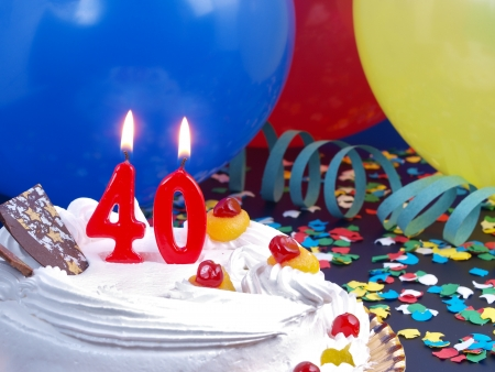 Birthday cake with red candles showing Nr  40 photo