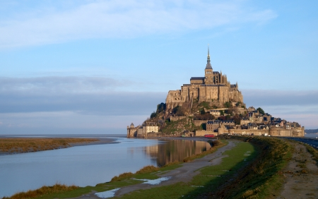 General view of Mont Saint Michel at dawn, second most visited place in France. photo