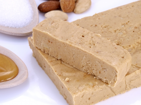 Turron.   Tipical Christmas candy in Spain, made with alm onds, sugar and honey.
