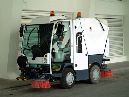 clean street: Street sweeper. Stock Photo