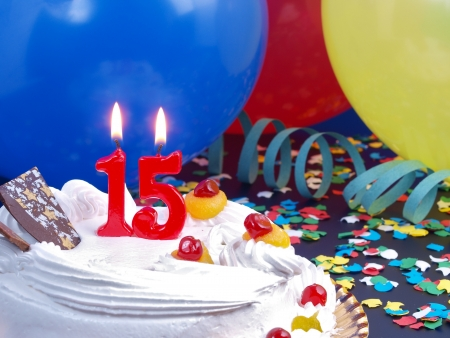 Birthday cake with red candles showing Nr. 15