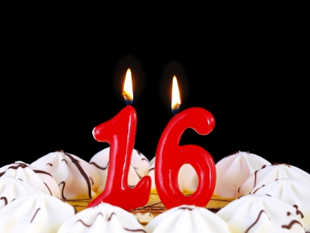 number 16: Birthday cake with red candles showing Nr. 16