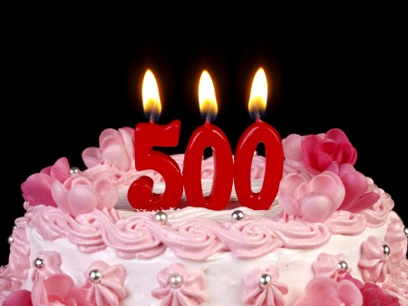 Birthday cake with red candles showing Nr. 500