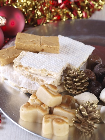 Spanish Christmas sweets.  Turron, torrone, nougat, mazapan, marzipan, filled almonds...