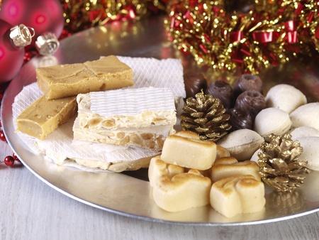 marzipan: Spanish Christmas sweets.  Turron, torrone, nougat, mazapan, marzipan, filled almonds...