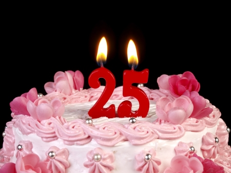 25: Birthday cake with red candles showing Nr. 25 Stock Photo