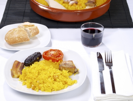 Arroz al Horno Oven cooked rice  Traditional Valencian Dish.  photo