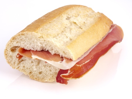 cured ham: Cured ham Sandwich. Typical spanish sandwich made with cured ham and baguette bread.