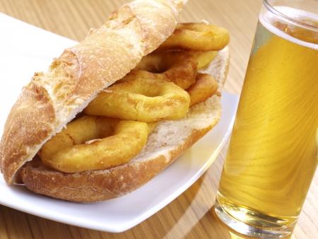 romana: Bocadillo de calamares a la romana  Fried Calamari sandwich