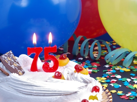 Birthday cake with red candles showing No. 75 Stock Photo - 15907863