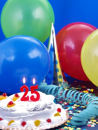 Birthday cake with red candles showing No. 25 Stock Photo - 15907897