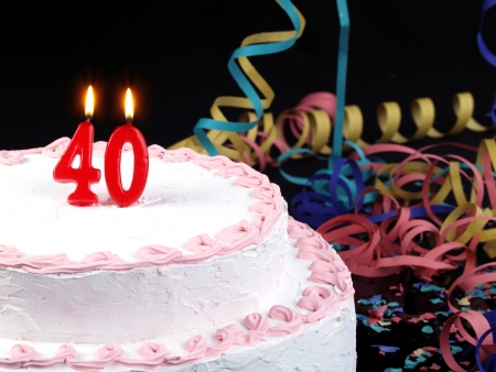 Birthday Cake With Red Candles Showing No 40 Stock Photo