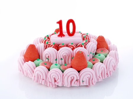 Birthday cake with red candles showing Nr. 10 photo