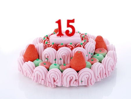 15: Birthday cake with red candles showing Nr  15