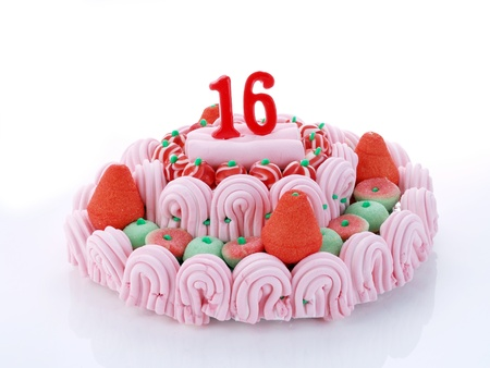 Birthday cake with red candles showing Nr  16 photo