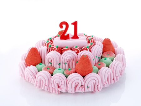 Birthday cake with red candles showing Nr  21 photo