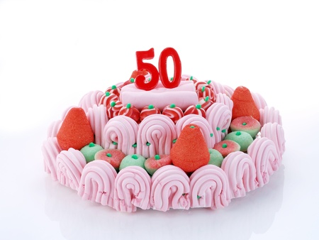 number 50: Birthday cake with red candles showing Nr  50 Stock Photo