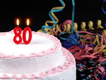 80: Birthday cake with red candles showing Nr  80