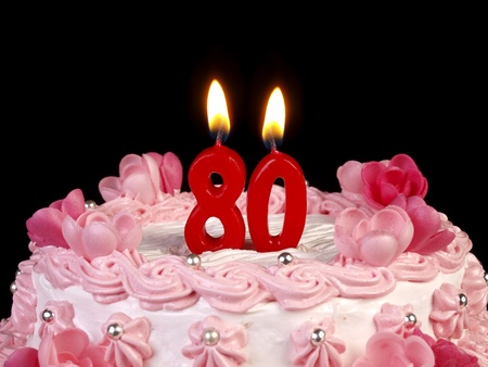 Birthday cake with red candles showing Nr. 80 photo