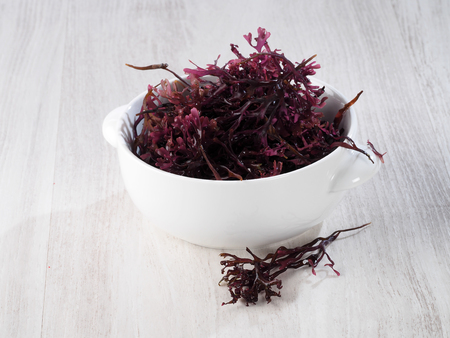 Musgo Estrellado – False Irish Moss -  Carrageen Moss  Binomial name: Mastocarpus stellatus. It is a sea vegetable or edible seaweed, ideal in preparing salads, marinades and sauces. Stockfoto