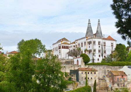 moresque: The Sintra National Palace, also called Town Palace is located in the town of Sintra, in Portugal near Lisbon