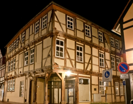 half timbered house: the half-timbered is an old architecture style, very popular in many countries  This old house located in Hamelin, Germany
