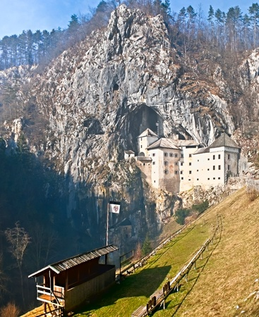 Predjama Castle is a renaissance castle built within a cave mouth in south-central Slovenia and area for the medieval jousting tournaments is a part of historic exhebition