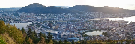 the scenic view on Bergen sunset from the top of one of seven mountains, that surround the city  Norway photo