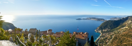 walking in eze exotic garden you can enjoy the plants and perfect view from the top, provence region, france  photo