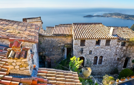 these old houses are sleeping in the early morning because the waves of mediterranean sea sing very good lullabies, eze, france