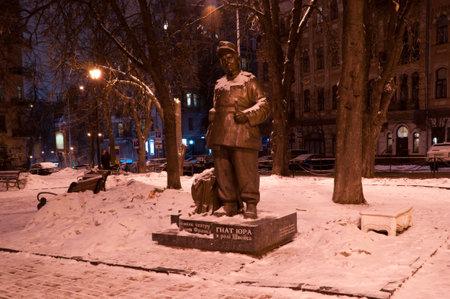 moscerino: il monumento al l'attore Zanzara Yura in uno dei suoi ruoli migliori, giocare soldato Schweik