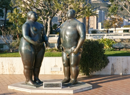 adam: this sculpture of fernando botero located in monaco Stock Photo