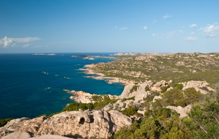 landscape on maddalena archipelago contains of different granites and sparse vegetation photo