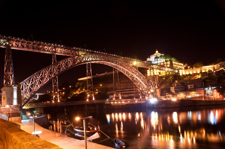the luis I bridge spans the douro river between the cities of porto and vila nova de gaia in portugal, it was engineered by one of the eiffel partners photo