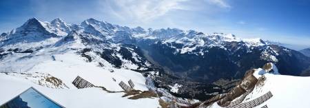 eiger: the view from the top of the manlichen mountain height 2230 meters