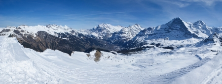 the most amazing highland landscape with a ski run, alps, switzerland photo