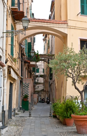 sanremo: one of the old scenic narrow streets of histiric part of Sanremo, Italy Stock Photo