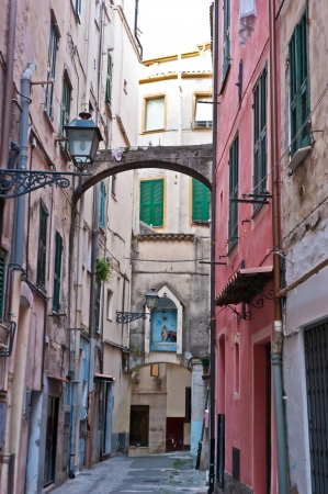 sanremo: the small street with an  icon over the arch, Sanremo, Italy
