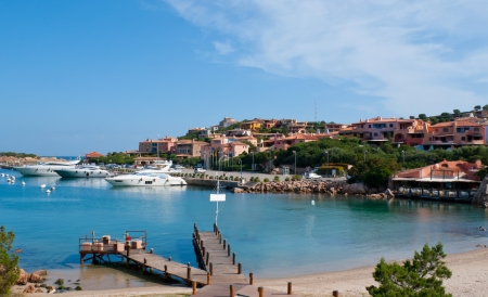 sardinia: The centre of the marina is the village of Porto Cervo with exclusive yacht club and shipyard capable of repairing large luxury yachts. Sardinia, Italy Stock Photo